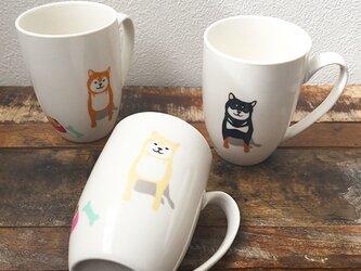 柴犬 ラウンドマグ 3色 赤柴 黒柴 白柴 ★ 300ml コーヒー 紅茶 ココアの画像