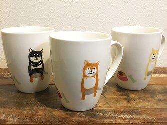 柴犬 たっぷり ラウンドマグ 赤柴 黒柴 白柴 3色 ★ 450ml コーヒー 紅茶 ココアの画像