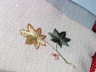 正絹 刺繍 巾着袋 訪問着 リメイク の画像