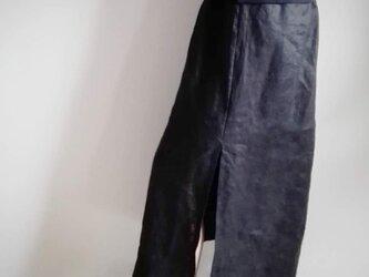 スリット麻スカート 黒 送料無料の画像