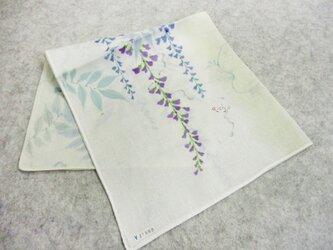 綿ハンカチ(薄黄緑グレー色絞り染に藤)の画像