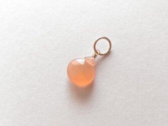 オレンジムーンストーンのネックレスチャーム/マロンカット(14KGF)の画像