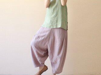綿麻生地 薄ピンク キュロット・ワイドパンツ 夏の画像