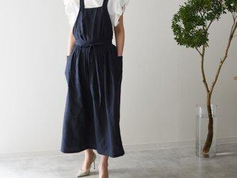 リネン エプロンドレス Dressy line NAVYの画像