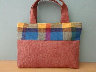 【再販】手織りと柿渋染め11号帆布*ミニトートバックの画像