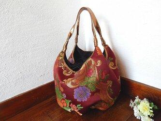 ゴブラン織りバルーンバッグ  ボルドーの画像