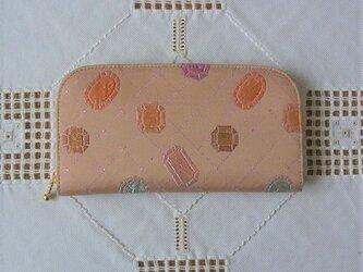 ファスナー長財布(帯地・宝石柄)の画像
