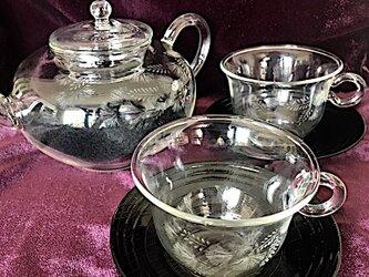 合歓の茶器セット〜手彫りガラス〜の画像