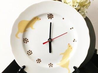 フェレット 白磁プレート 皿時計 置時計 ★ セーブル or 白毛系 19cmの画像