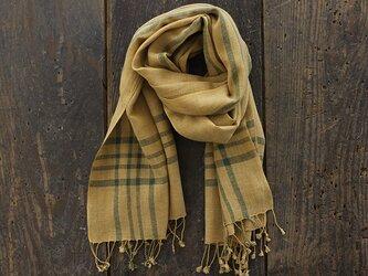 手織り ヘンプコットン 草木染め ストール (マスタード/グリーンボーダークロス)の画像