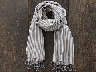 手織り ヘンプコットン 草木染め ストール (マルチストライプ)の画像