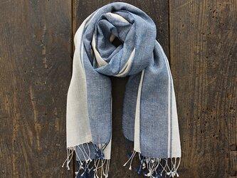 手織り ヘンプコットン 草木染め ストール (生成り/ブルーボーダー)の画像