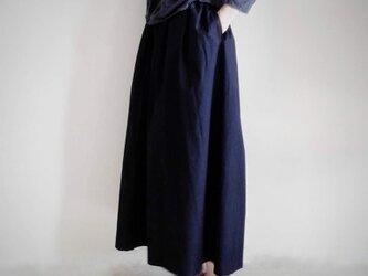 綿ギャザースカート ネイビー 送料無料の画像