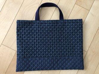 青チェック キルティングレッスンバッグ(ブルー)の画像