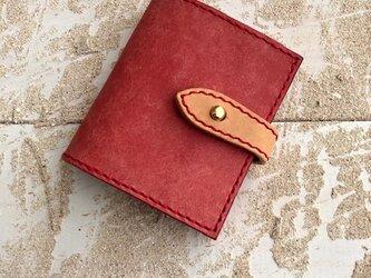 コンパクトな二つ折りの財布 ピンク×ナチュラル プエブロレザーの画像