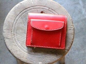 【受注生産品】コインが取り出しやすい二つ折り財布 ~栃木アニリン赤×栃木ヌメ~の画像