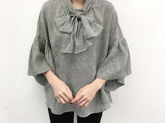 en-en ●ミニミニ千鳥リネン 前リボンギャザー袖プルオーバー(新作、人気、麻)の画像