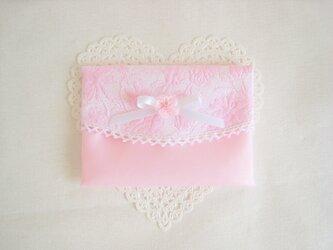 可愛いリボンとお花を付けたポケットティッシュケース(ピンク)の画像