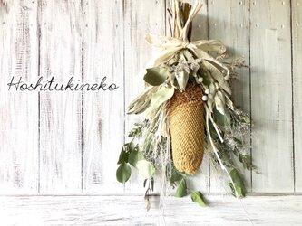 星月猫★「バンクシアプリノートのホワイトスワッグ」ドライフラワースワッグ 花束の画像