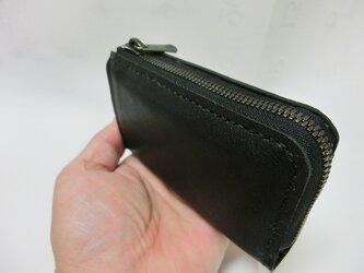 コンパクトL字ファスナー財布(牛革 ブラック)の画像