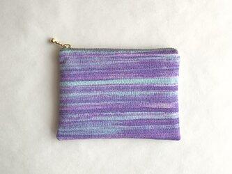 絹手染ポーチ(11cm×15cm 横・紫薄緑)の画像