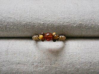 虎目石と琥珀のリング /金茶の画像