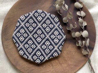 ⌘こぎん刺しコースター(8角形)⌘『モドコ:業平格子』の画像
