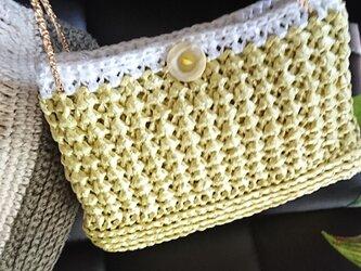 手編み*ミモザ色 バッグ③* ショルダーバッグ  中にポーチ付き♪ お財布バッグ  送料無料  【HANDMADE*HK*】の画像