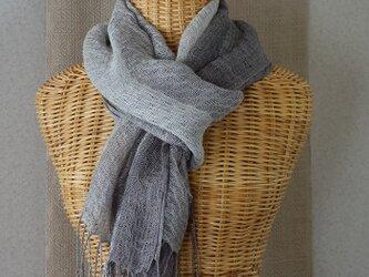 手織りリネンシルクストール・・グレー×ココアの画像