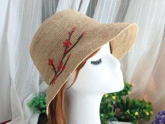 かわいい梅の花柄 自然素材 麦わら帽子の画像