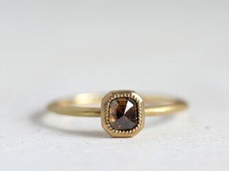 K18 ローズカット・ダイヤモンドリング 〈オクタゴン・ブラウン〉の画像