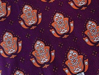 アフリカ布『カンガ』パンジー × ルージュ・オレンジの画像