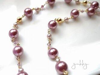 カラーパール*ピンク系✽スワロフスキー*ロングネックレスの画像