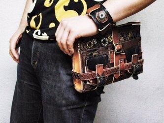オールレザー ハンドメイド スチームパンクサイドバッグの画像