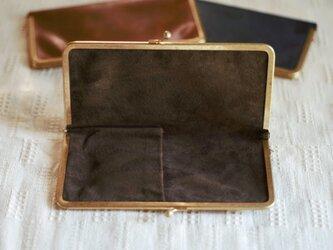 真鍮使いの口金ペンケース(3本用)/ブラウン×チョコの画像