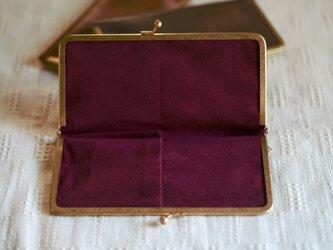 真鍮使いの口金ペンケース(2本用)/ブラック×ボルドーの画像
