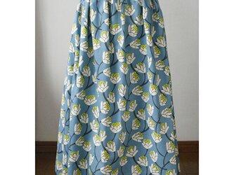 【sale】花柄のマキシ丈スカート くすみブルー 花 (F)の画像