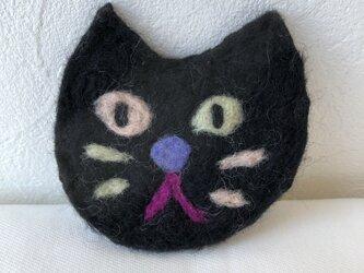 猫ブローチ 黒の画像