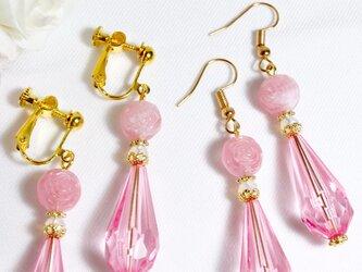 ピンクの薔薇ボールとシズクビーズのピアス/イヤリング〔351/352〕の画像