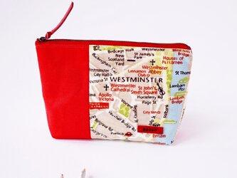 オランダ製生地!赤のロンドン地図柄のマチ付きポーチ(内ポケット付き)の画像