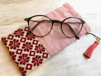 こぎん刺しメガネケース〔ピンク・梅の花〕の画像