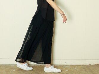 オーガニックコットン ガーゼカディ スカートパンツ blackの画像