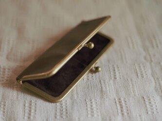 真鍮使いの口金ペンケース(ショート2本用)/ブラウン×チョコの画像