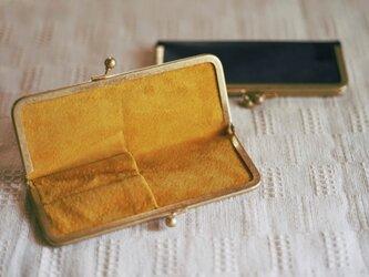 真鍮使いの口金ペンケース(ショート2本用)/ブラック×マスタードイエローの画像