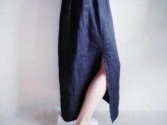 スリット麻スカート ネイビー 送料無料の画像
