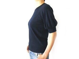 日本製オーガニックコットン 形にこだわった 大人のギャザー袖Tシャツ【サイズ・色展開有り】の画像