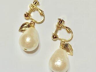 上質コットンパール⚫洋梨みたいなイヤリングの画像