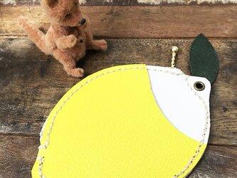 本革 レモン ポーチ パスケース ★ ネオンカラー 檸檬 れもん 小銭入れ 手縫いの画像
