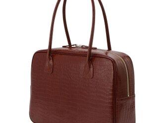 A4対応 人気のスクエアボストン オール牛革 本革バッグ 軽量 クロコ型 レザー ライトブラウンの画像