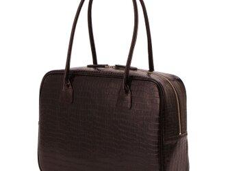 A4対応 人気のスクエアボストン オール牛革 本革バッグ 軽量 クロコ型 レザー ダークブラウンの画像